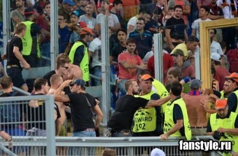 фанаты ЦСКА на матче с Ромой
