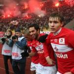 Фанаты Спартака празднуют гол