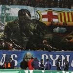 Баннер Динамо Киев на игре с Барселоной