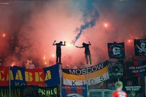 пиро фанатов ЦСКА в Пльзене