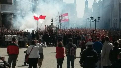 Проход фанатов Спартака в Казани