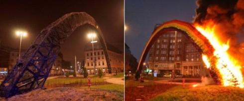 горящая радуга в Варшаве
