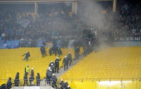 беспорядки на матче Аустрия - Зенит